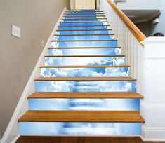Stairs painted stairways new Ideas Deck Stair Railing, Stair Risers, Marble Stairs, Concrete Stairs, Painted Stairs, Wooden Stairs, Glitter Stairs, Stair Art, Blue Sky Clouds