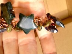 copper wire and dark blue and green stone by JennyandBJewelry, $28.00