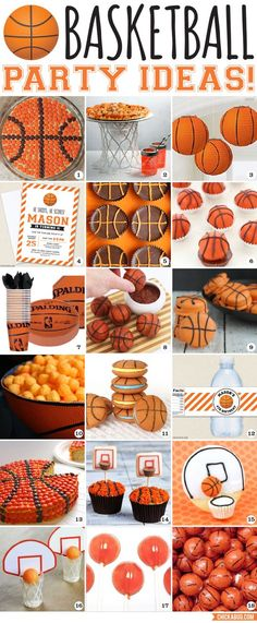 You'll make a slam dunk with these awesome basketball party ideas! Here are lots of cute food and decor ideas for a basketball birthday party! Sports Birthday, Sports Party, Boy Birthday Parties, Birthday Ideas, Cake Birthday, 10th Birthday, Birthday Games, Basketball Party, Soccer Ball