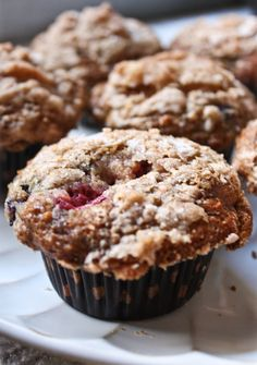 Banana Berry Muffins with a Crumb Topping | Adventures in Cooking