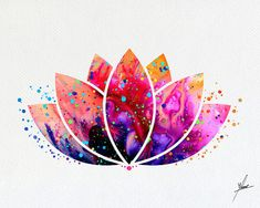 Lotus Flower Yoga simbolo acquerello di PainterlyDots su Etsy