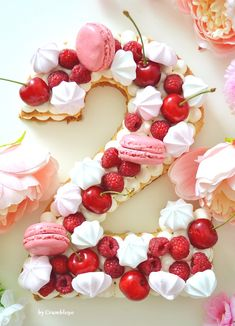 A number cake for the second anniversary of my wedding :3 #number #numbercake #sweet #anniversary #ideas #cute #cake #bake #raspberry #cherry #meringue #flowers #mojewypieki Recipe comes from http://mojewypieki.com