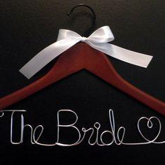 Personalized Wedding Hanger / Choose Finish and Ribbon Color / Name Hanger / Wedding Gown Hanger. $5.50, via Etsy.