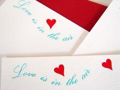 Letterpress Cards Love is in the Air. $17.00, via Etsy. AlohaLetterpress