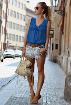 Shorts with sleeveless button down shirt tucked in..... Zeliha's Blog: Best Summer Street Style Inspiration & Looks