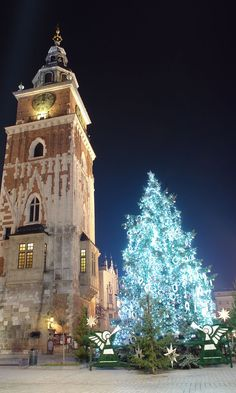 Christmas tree at Market Square in Krakow, Poland