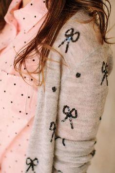 pink and black polka dot shirt with bow print cardigan