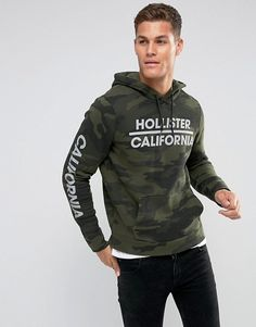b56dc50c4d7d Hollister Hoodie Athletic Print Logo in Green Camo