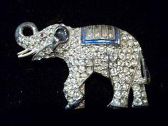 Vintage Coro Rhinestone Enamel Brooch Elephant Figural Pot Metal RARE   eBay