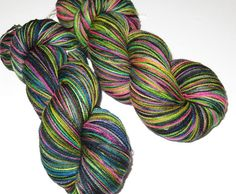 SPRING SALE 20 Percent Off  Hand Painted by SeeJayneKnitYarns (Craft Supplies & Tools, Fiber & Textile Art Supplies, Yarn & Roving, Yarn, Lace, Thread & Cobweb, hand dyed, hand painted, knitting, knitting supplies, superwash wool, emo blender, goth punk, rainbow, black, black light, lace weight yarn, northern lights)