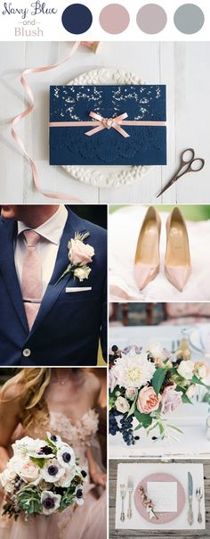 elegant navy blue and blush wedding color ideas and invitations