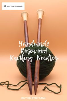 These lovely single-pointed wooden knitting needles are handmade and lovely to knit with. Made with gorgeous rosewood, they warm to your hand offering superior knitting experience. Available on Etsy in various sizes, 30cm long. Wooden Knitting Needles, Knitting Accessories, Knitting Projects, Warm, Unique Jewelry, Handmade Gifts, Beautiful, Etsy, Kid Craft Gifts
