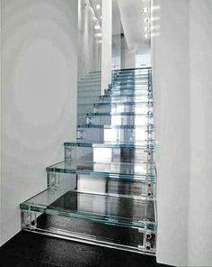 Glass stairs.