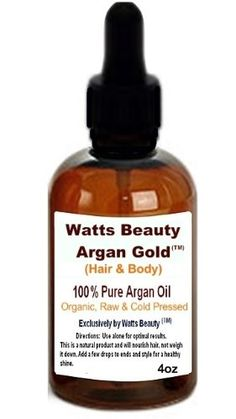 Watts Beauty ArganGoldTM 100% Certified Organic Cold Pressed Argan Nut Oil for Hair  Body - Morocco