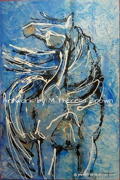 Storm Watch 24 x 36 abstract horse art acrylic by onroadartists, $350.00