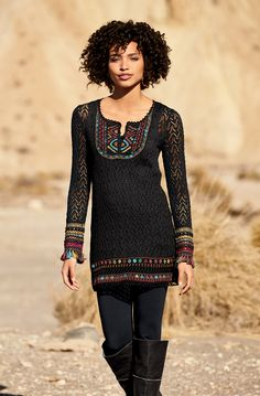 This is so fun! Zanzibar Tunic, Black Long Tank, Black Spa Leggings, Tashkent Earrings