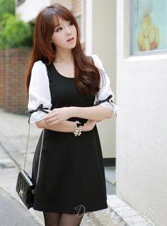 Modern Korean Style Falbala Half Sleeve Dress Καλοκαιρινά Φορέματα ee889d6a0e3