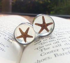 """Real Star Fish Plugs made with resin custom gauges size 5/8"""", 3/4"""", 7/8"""", 16mm, 19mm, 22mm. $38.00, via Etsy."""