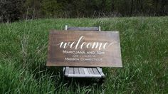 Check out this item in my Etsy shop https://www.etsy.com/listing/292397817/welcome-to-our-wedding-sign-personalized