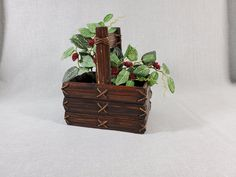 Unique Bamboo Wood Slat Rectangular Basket w/ Connecting Lacings & Handle - Dark Finish - Vintage Rattan Asian Design - FREE SHIPPING by RandomActsofVintage on Etsy