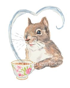 Title: Squirrels Love Tea Coffee is a great way to get going in the morning but late afternoon is the perfect time for tea. Preferably in a pretty tea cup This is a PRINT of my original squirrel watercolor painting ** PRINT SIZE: 5x7 (12.5 cm x 17.5 cm) ** This illustration also comes is an 8x10 and 11x14 print. I hand make each and every print. I print on demand then allow a print to dry for 24 hrs before packaging. If you looking for more fun squirrel and animal watercolour please v...