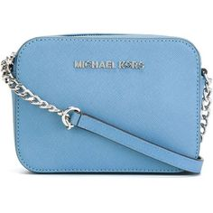 Michael Michael Kors Mini Jet Set Travel Crossbody Bag ($126) ❤ liked on Polyvore featuring bags, handbags, shoulder bags, blue, blue leather handbag, leather purse, leather cross body handbags, leather crossbody purse and crossbody handbags