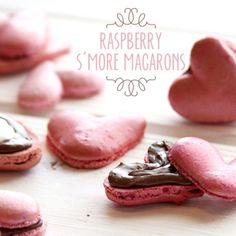 Heart-Shaped Raspberry S'more Macarons!