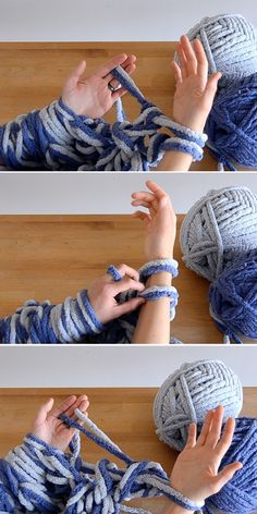 Make an arm knit blanket in under an hour. If you don't think you have the time to make handcrafted Christmas gifts this year, you need to watch our video! ideas, Knitting How To: Arm-Knit a Blanket in Just One Hour! Knitting Blogs, Knitting Yarn, Knitting Patterns, Crochet Patterns, Finger Knitting Projects, Scarf Patterns, Knitting Machine, Wool Yarn, Merino Wool
