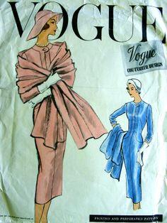 Vintage 1957 VOGUE Couturier Original Pattern - Dress  Stole