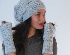 Crochet light gray beanie hat, merino wool blend hat, woman accessories, winter wool hat,  fall winter fashion,, slouchy ribbed hat