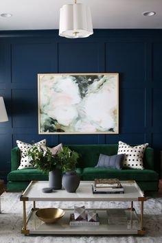Studio McGee blue living room We partnered with Metrie to create a formal sitting room! Dark Living Rooms, Living Room Green, New Living Room, Formal Living Rooms, Home Living Room, Living Room Decor, Cozy Living, Apartment Living, Living Room Ideas Dark Blue