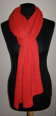 ORANGE RED Long SCARF  Icelandic production by HuldaGK on Etsy, $30.00
