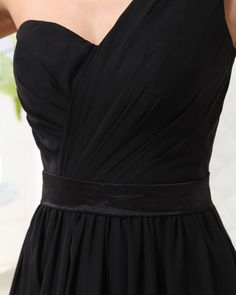 One Shoulder Floor Length Chiffon Bridesmaid Dress  A-line/Princess,Floor Length,One Shoulder,Sweetheart,Natural,Sleeveless,Hand Made Flowers,Zipper,Chiffon,Spring,Summer,Fall,Winter,