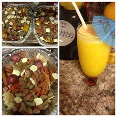 Seafood feast, crablegs, shrimp, Polska sausages & sweet corns, & mango margaritas