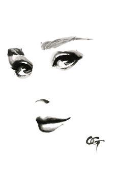 #Audrey_Hepburn #OHGUSHI #Fashion_illustration #portrait_painting #watercolor #japanese_ink #Bijinga #水墨画 #美人画