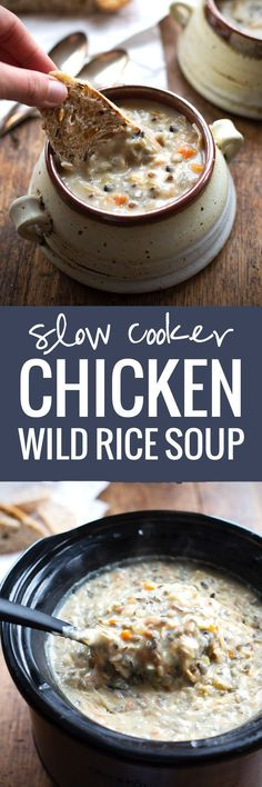 Crockpot Chicken Wild Rice Soup Recipe - Pinch of YumYou can find Wild rice soup and more on our website.Crockpot Chicken Wild Rice Soup Recipe - Pinch of Yum Crock Pot Soup, Crock Pot Slow Cooker, Crock Pot Cooking, Slow Cooker Recipes, Soup Recipes, Cooking Recipes, Recipies, Cooking Ribs, Cooking Pasta