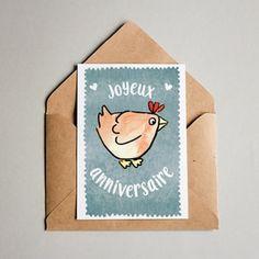 Cartes de voeux dessinées, mises en page et imprimées en Alsace. #carte #cartedevoeux #poule #joyeuxanniversaire #anniversaire #papeterie #aquarelle #alsace #juliebellule