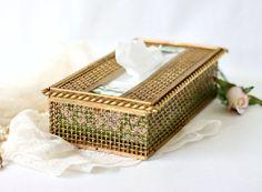 Vintage Tissue Box Holder - Stylebuilt Ormolu Gold Basket Weave Kleenex Cover - Hollywood Regency Bathroom Vanity Bedroom Decor by GSaleHunter on Etsy