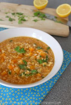Lentil and Bulgur Soup @ olive oil   onion   garlic   tomato puree   cumin   lentils   bulgur wheat   vegetable stock   carrot   lemon juice