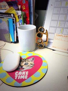 Cake time and a coffee mug with an attitude.