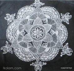 Rangoli Free hand design in Black and White free hand design blackboard kolams white powder   www.iKolam.com