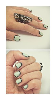 Mint and black outline nails