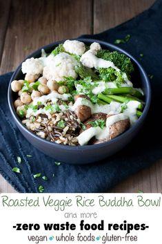 Veggie Rice Buddha Bowl with Lemon Herb Sauce (Zero Waste Food Recipes) | www.veggiesdontbite.com | #vegan #glutenfree #earthday #zerowaste #LoveMySilk #ad