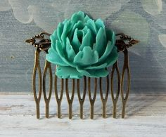 Large Turquoise Rose Flower Hair Comb Bridal Hair Piece Wedding Hair Accessories Floral by MsBsDesigns on Etsy