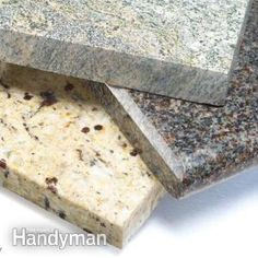 Buying  Countertops: How to compare and choose the best countertop material—granite, plastic laminate, solid surface, wood, stainless steel, tile or other types. @The Family Handyman walks through the pros and cons of each and compare costs.