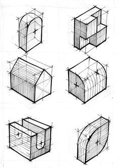 Exercícios para 1, 2 e 3 pontos de fuga - perspectiva cônica - 2