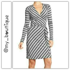 ⛄SALE⛄                     Gray Striped Wrap Dress Detail Above In 3rd Pic Reg $25 Old Navy Dresses