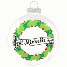 Wreath with Music Personalaized Ornament. This ornament and many more can be found at https://www.ornaments.com