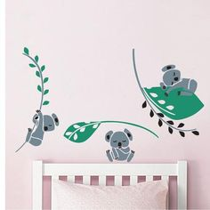 Koala Tree Leaves Branch Kids Room Decor Wall Sticker