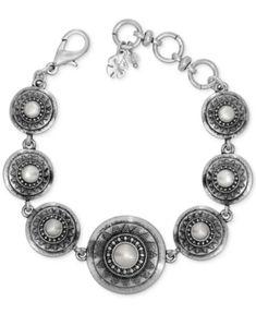 Lucky Brand Silver-Tone Imitation Pearl Star Disc Link Bracelet - Silver